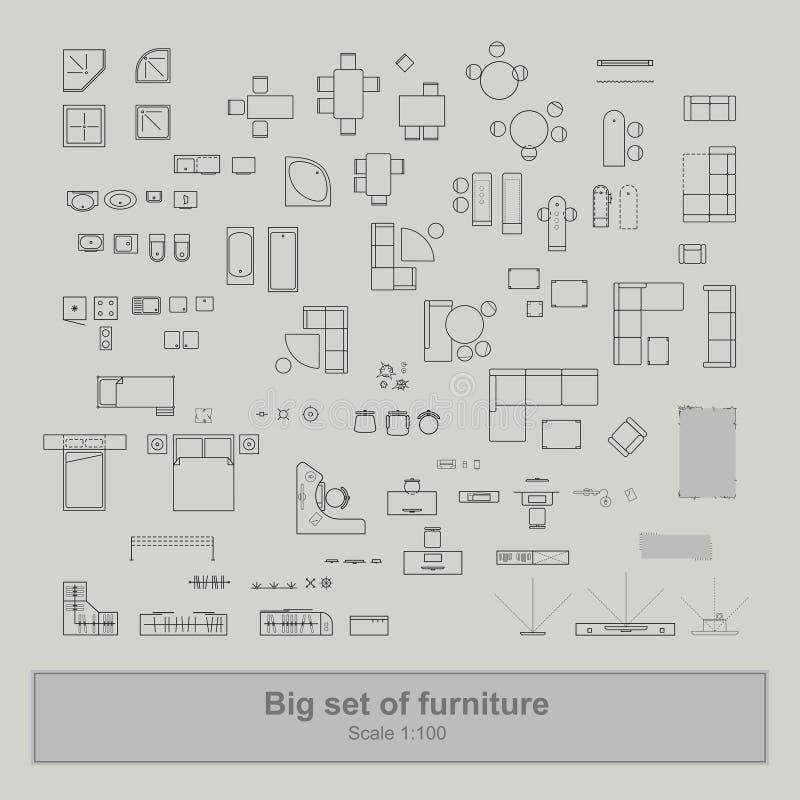 Reeks van meubilair hoogste mening voor flatsplan royalty-vrije illustratie