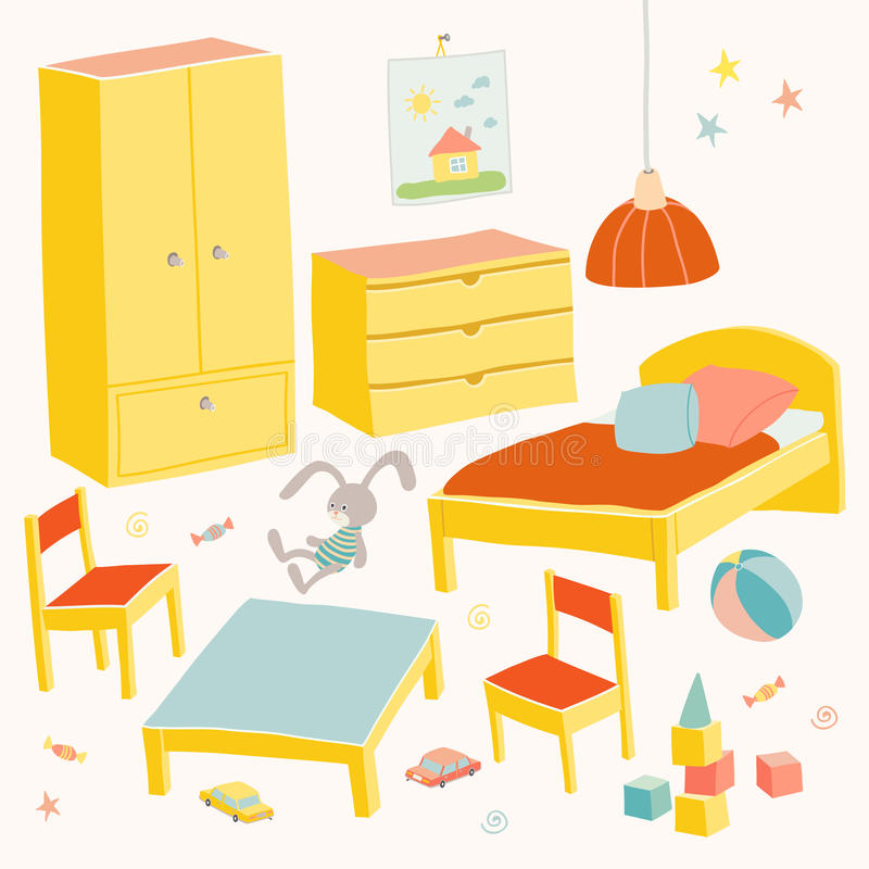 Reeks van meubilair voor kinderenruimte Jonge geitjes klein meubilair Bed, lijst met kinderen` s stoelen, garderobe en borsthand vector illustratie