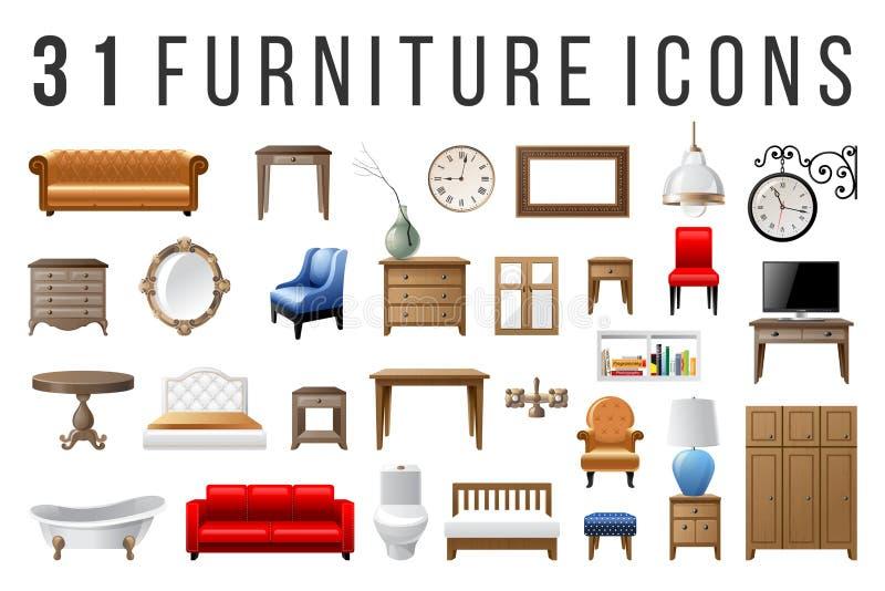 Reeks van 31 meubilairpictogrammen royalty-vrije illustratie