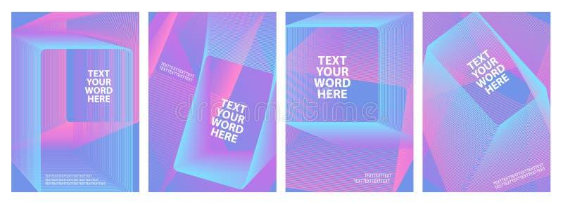 Reeks van 4 minimaal geometrisch grafisch dekkingsontwerp Eenvoudig affichemalplaatje in heldere blauw en roze royalty-vrije illustratie