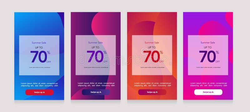 Reeks van mobiele verkoopbanner Het malplaatje van de verkoopbanner voor hoogtepunt - bekijk vertoning, de speciale aanbiedingree vector illustratie