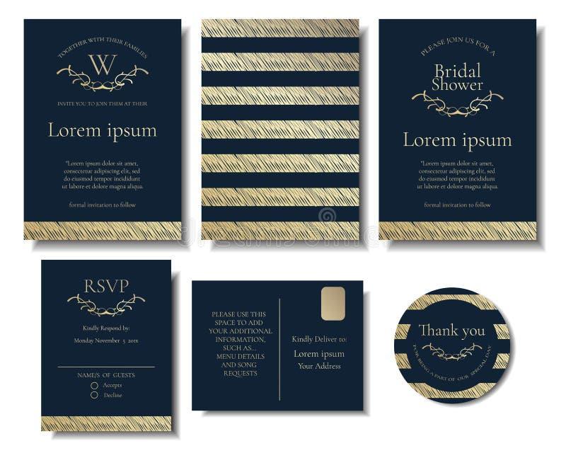 Reeks van Modern Elegant Gouden de Kaart Vectorontwerp van de Huwelijksuitnodiging royalty-vrije illustratie