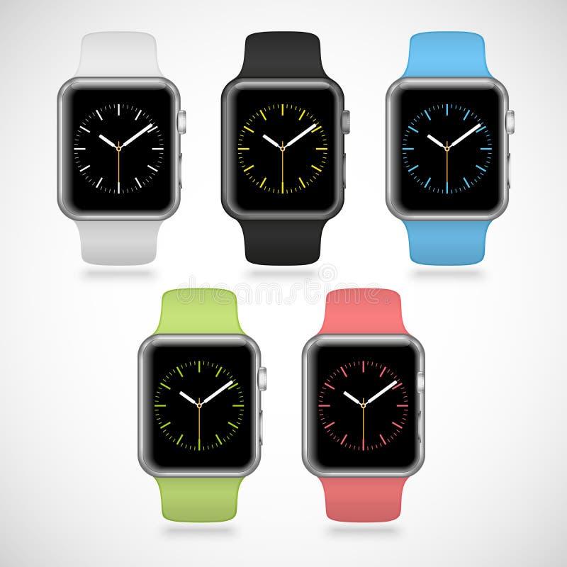 Reeks van 5 moderne glanzende sport slimme horloges met stock illustratie