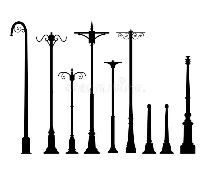 Reeks van moderne lamppost in vlakke stijl royalty-vrije illustratie