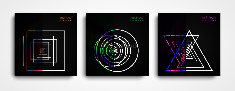 Reeks van Moderne Vector abstracte achtergrond met kleurrijke vormen Kleurrijke halftone gradiënten Toekomstige geometrische patr royalty-vrije illustratie