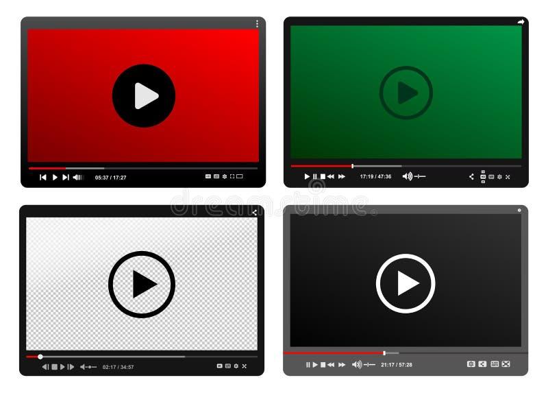 Reeks van Moderne Videospeler Zwarte, Rode, Groene Ontwerpsjabloon voor Web en Mobiele toepassingen Vlakke Stijl Vector illustrat royalty-vrije illustratie