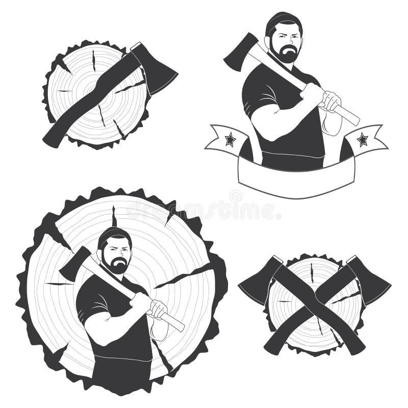 Reeks van modieuze emblemenhouthakker stock illustratie