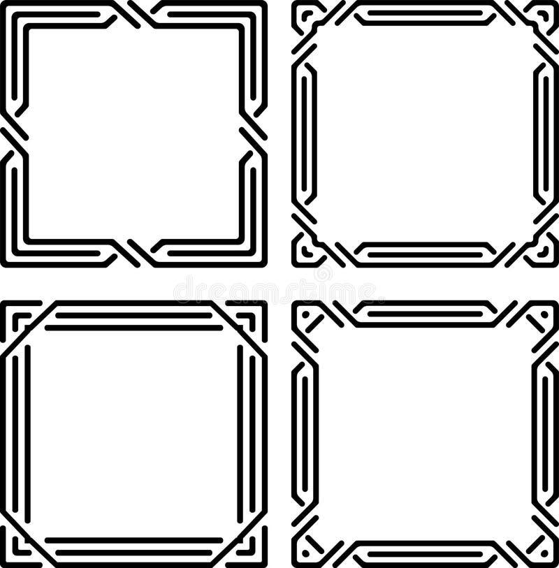 Reeks van 4 modieuze rijke verfraaide vierkante decoratieve kaders in mono vector illustratie