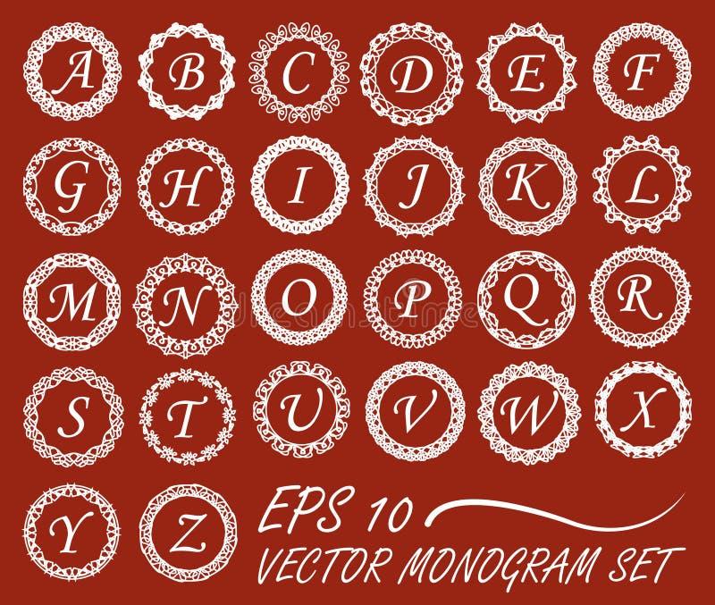 Reeks van monogram in uitstekende mono-lijnkaders, geheel alfabet van brieven vector illustratie