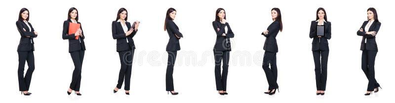 Reeks van mooie, aantrekkelijke die onderneemster op wit wordt geïsoleerd stock afbeelding