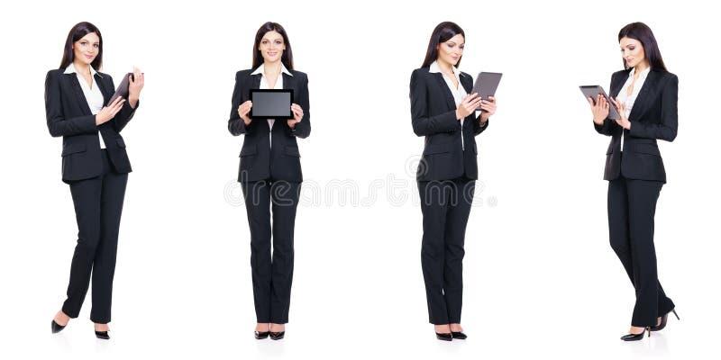 Reeks van mooie, aantrekkelijke die onderneemster op wit wordt geïsoleerd Zaken, het concept van het carrièresucces stock afbeeldingen