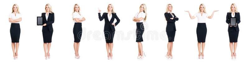 Reeks van mooie, aantrekkelijke die onderneemster op wit wordt geïsoleerd Zaken, het concept van het carrièresucces royalty-vrije stock afbeelding