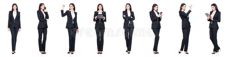 Reeks van mooie, aantrekkelijke die onderneemster op wit wordt geïsoleerd Zaken, het concept van het carrièresucces stock afbeelding