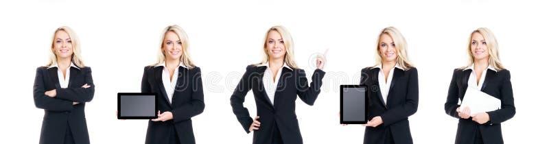 Reeks van mooie, aantrekkelijke die onderneemster op wit wordt ge?soleerd Zaken, carrièresucces stock fotografie
