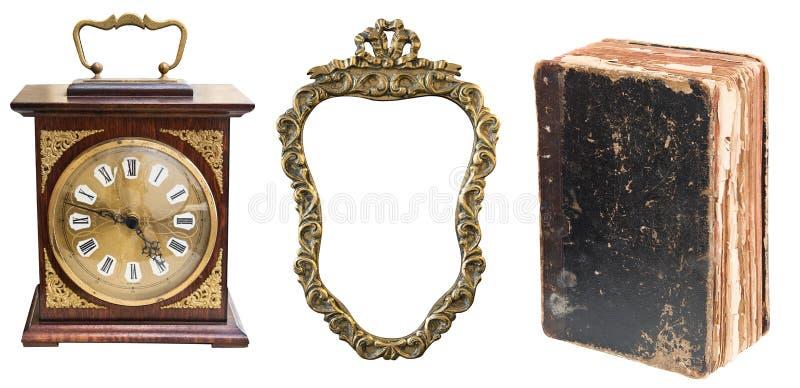 Reeks van mooie antieke punten, Antieke klok, gouden kader en sjofel oud boek stock fotografie