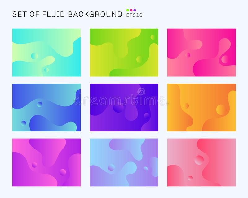 Reeks van mooie dynamische vormen en de trillende achtergrond van de gradiëntkleur Malplaatjeontwerp voor dekkingsbrochure, affic stock illustratie