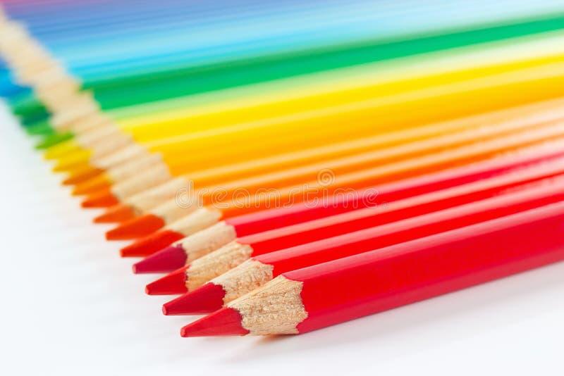 Reeks van multicolored potlodenclose-up stock foto's