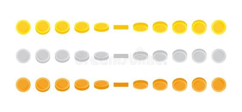Reeks van muntstuk sprites illustratie voor animatiekaders Gebruik in grafische spelontwikkeling, mobiele spelen of motie goud royalty-vrije illustratie
