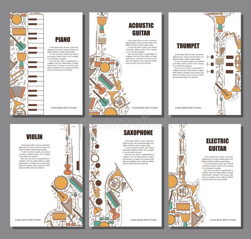 Reeks van muzikaal illustratieconcept Van het de afficheboek van de kunstmuziek de brochureelement Vector decoratieve groetkaart  royalty-vrije illustratie
