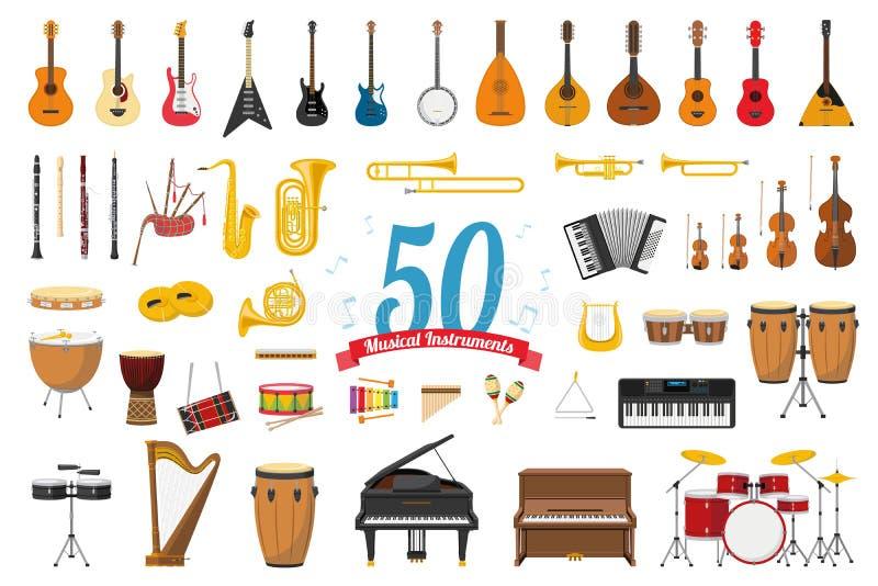 Reeks van 50 muzikale die instrumenten in beeldverhaalstijl op witte achtergrond wordt geïsoleerd stock illustratie