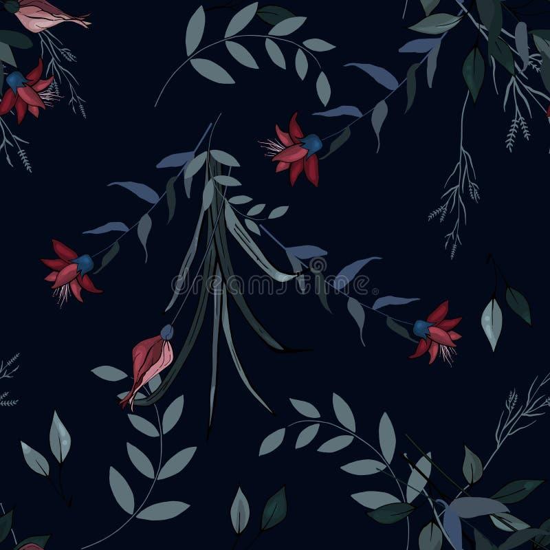 Reeks van naadloos bloemenornament voor manierontwerp, stoffendruk, behang, achtergrond, Web, textiel in vector Het patroon van d stock illustratie