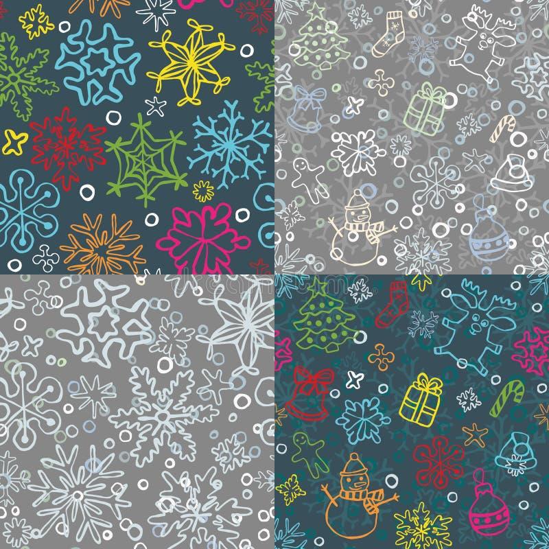 Reeks van 4 naadloos Kerstmispatroon vector illustratie