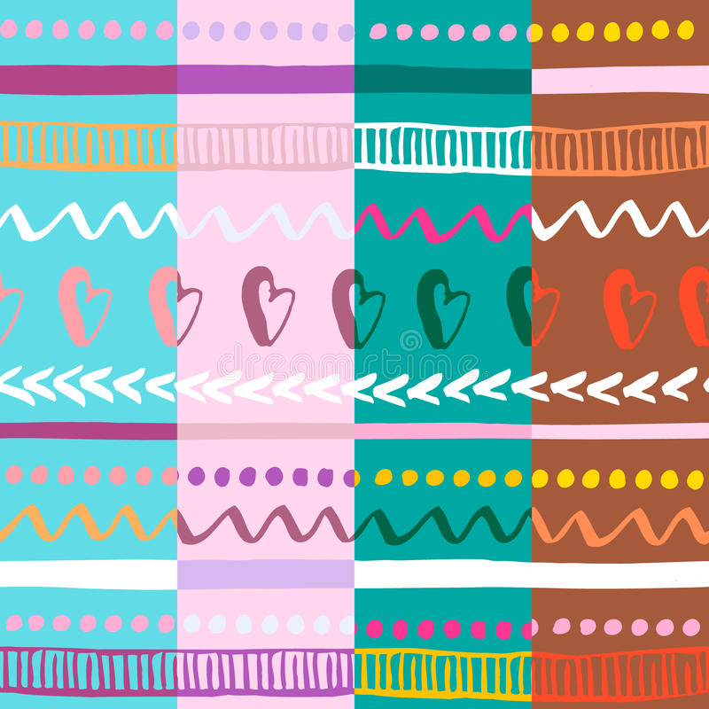 Reeks van naadloos kleurrijk stammenpatroon vier In hand getrokken etnische textuur Vector illustratie royalty-vrije illustratie