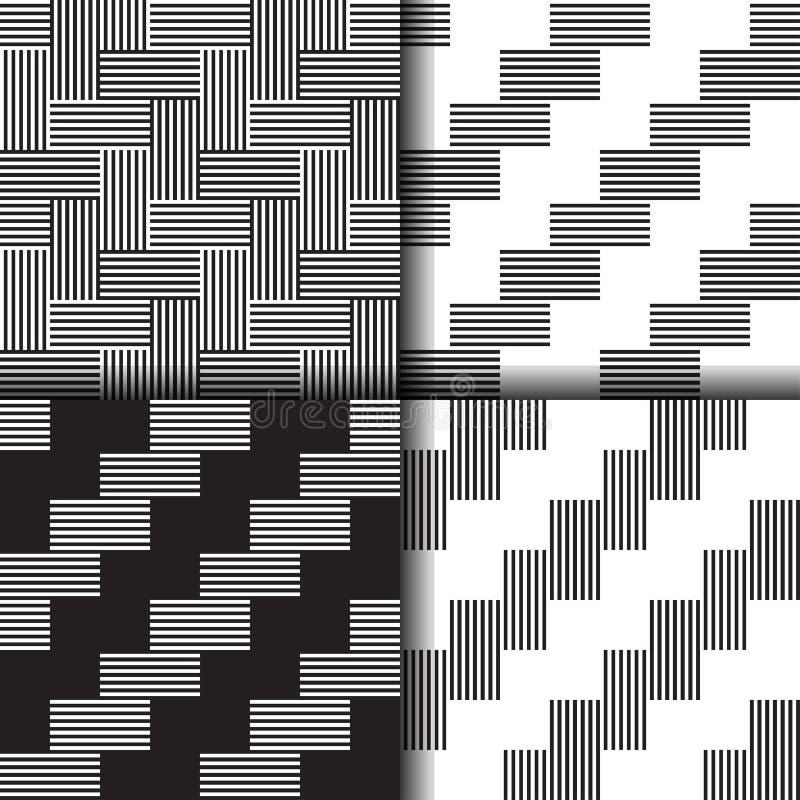 Reeks van naadloos lineair zwart-wit patroon vector illustratie