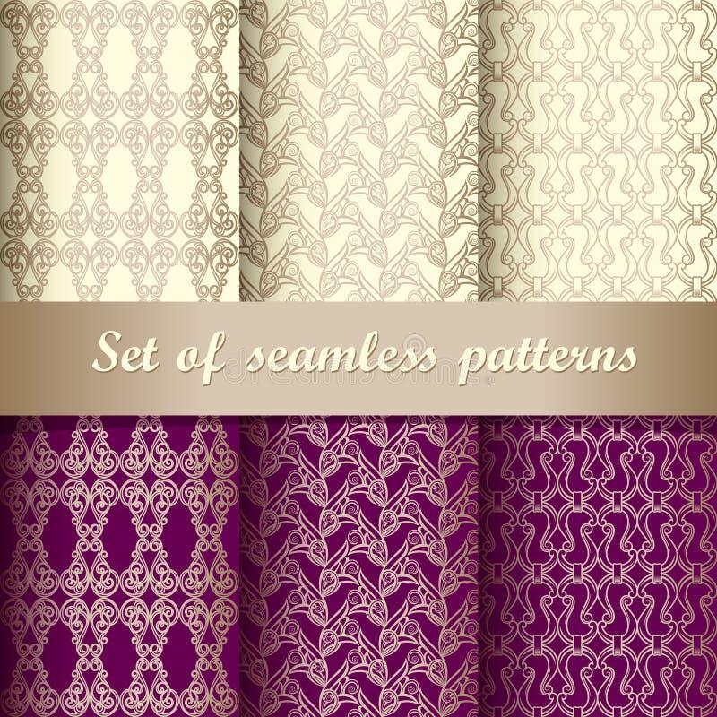 Reeks van naadloos patroon 5 vector illustratie