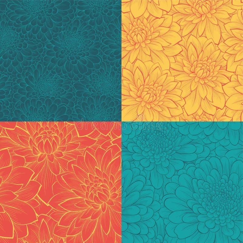 Reeks van naadloos patroon met bloemen Hand-drawn contourlijnen en slagen stock illustratie