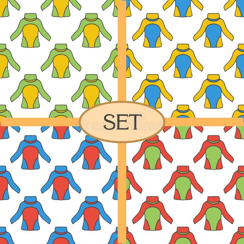 Reeks van naadloos patroon met thermisch ondergoed vector illustratie