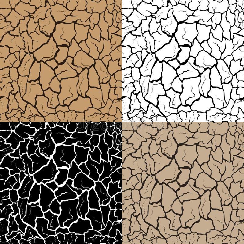 Reeks van naadloos patroon met vele barsten en krassen, droge grond tarkyr vector illustratie