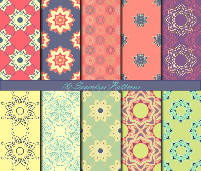 Reeks van naadloos patroon tien met mandalas in mooie kleuren Het kan voor prestaties van het ontwerpwerk noodzakelijk zijn stock illustratie