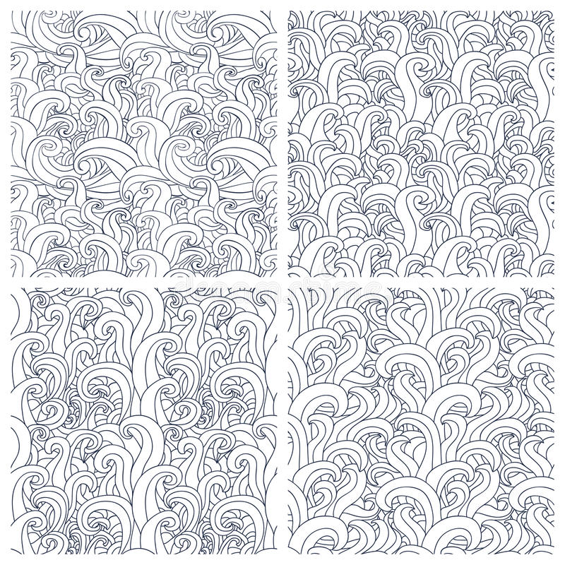 Reeks van naadloos patroon vier met abstracte krabbelgolven stock illustratie