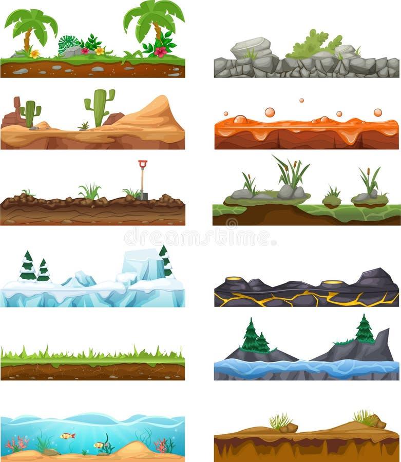Reeks van naadloos spellandschap, interface Landschap voor 2D spelen royalty-vrije illustratie