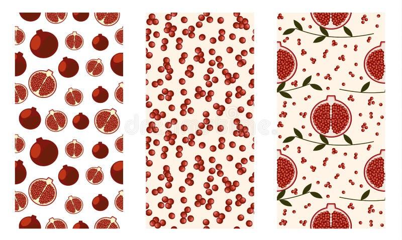 Reeks van naadloos vruchten vectorpatroon, heldere kleurrijke achtergrond met granaatappels, zaden, takken met bladeren royalty-vrije illustratie