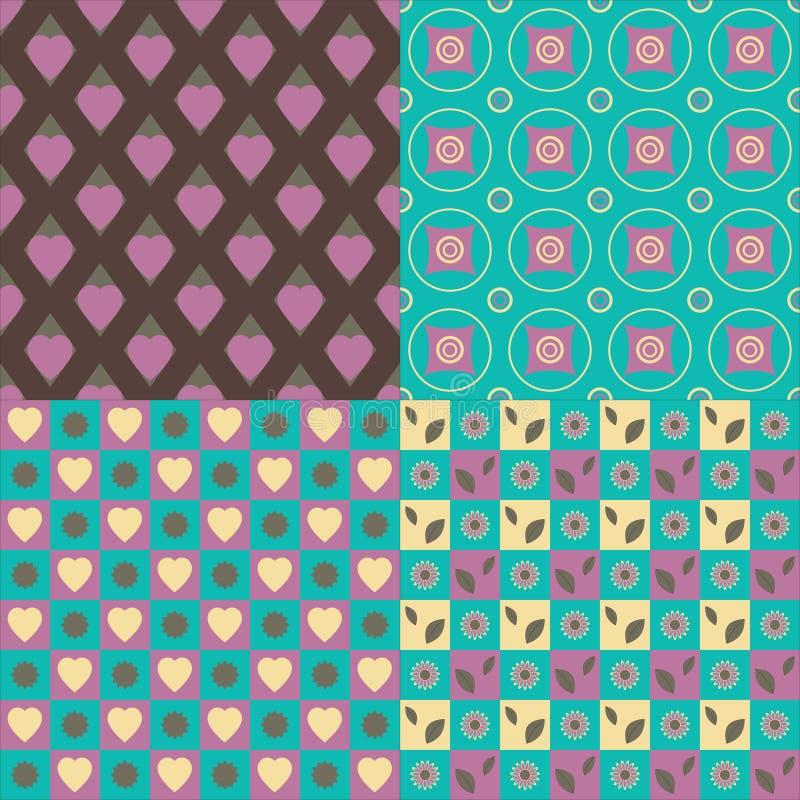 Reeks van 4 naadloze patronen vector illustratie
