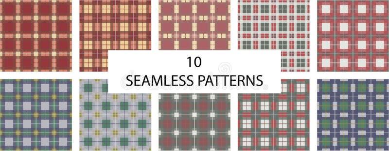 Reeks van 10 naadloze patronen De textuur naadloos patroon van de controleplaid Engelse controle royalty-vrije illustratie