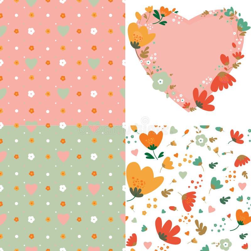Reeks van naadloze patronen en decoratief element met bloemen en harten stock illustratie