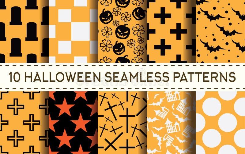 Reeks van 10 naadloze patronen van Halloween vector illustratie