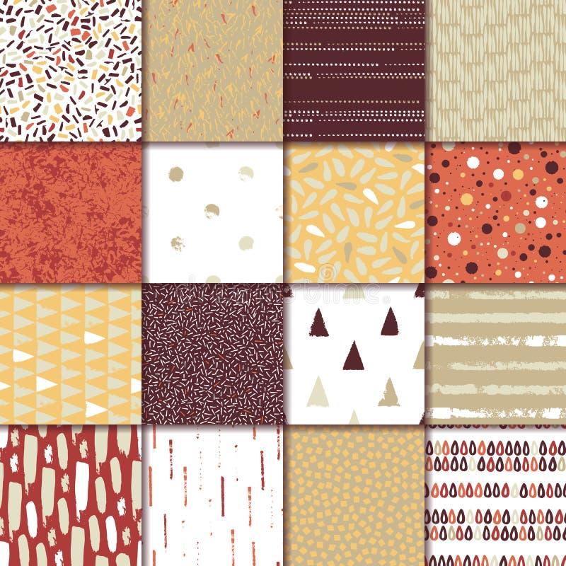 Reeks van naadloze textuur 16 Dalingen, punten, lijnen, strepen, cirkels, driehoeken, rechthoeken Abstracte vormen getrokken een  royalty-vrije illustratie