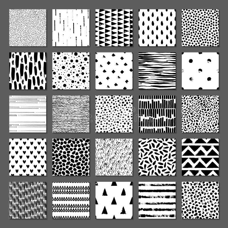Reeks van naadloze textuur 25 Dalingen, punten, lijnen, strepen, cirkels, driehoeken, rechthoeken Abstracte vormen getrokken een  stock illustratie