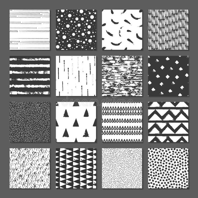 Reeks van naadloze textuur 16 Dalingen, punten, lijnen, strepen, cirkels, vierkanten, rechthoeken Abstracte vormen getrokken een  royalty-vrije illustratie