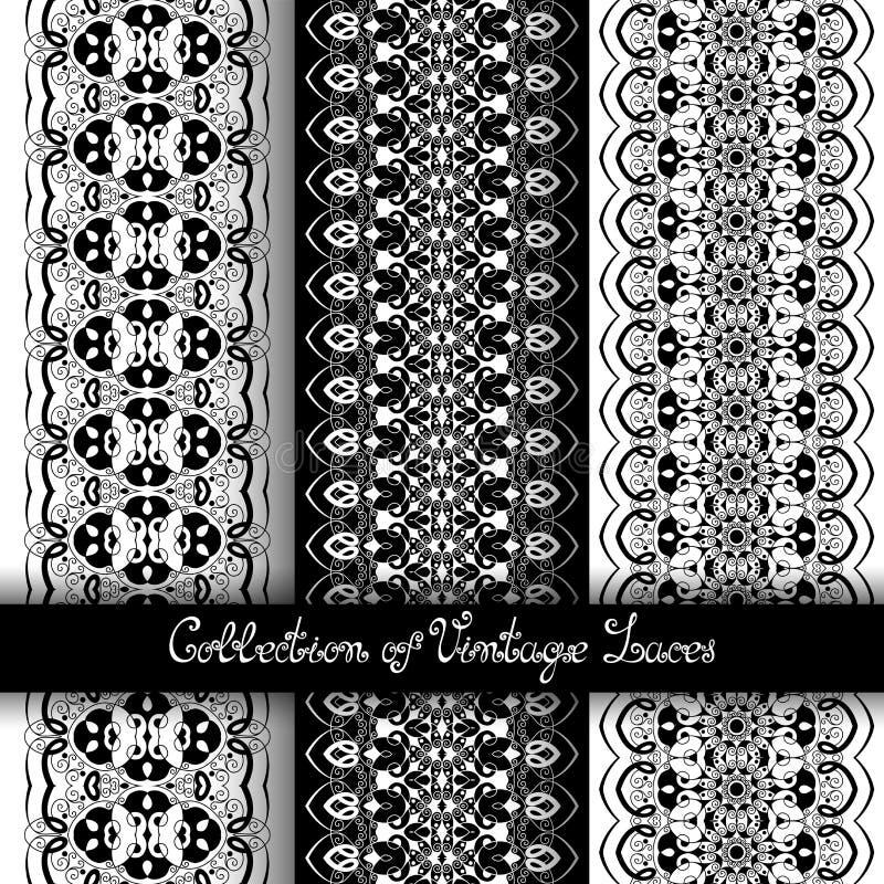 Reeks van 3 Naadloze Uitstekende Patronen (Vector) stock illustratie