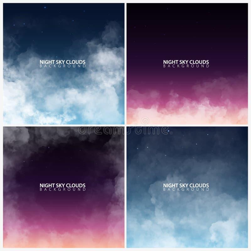 Reeks van nachthemel met witte realistische wolken Vector illustratie stock illustratie