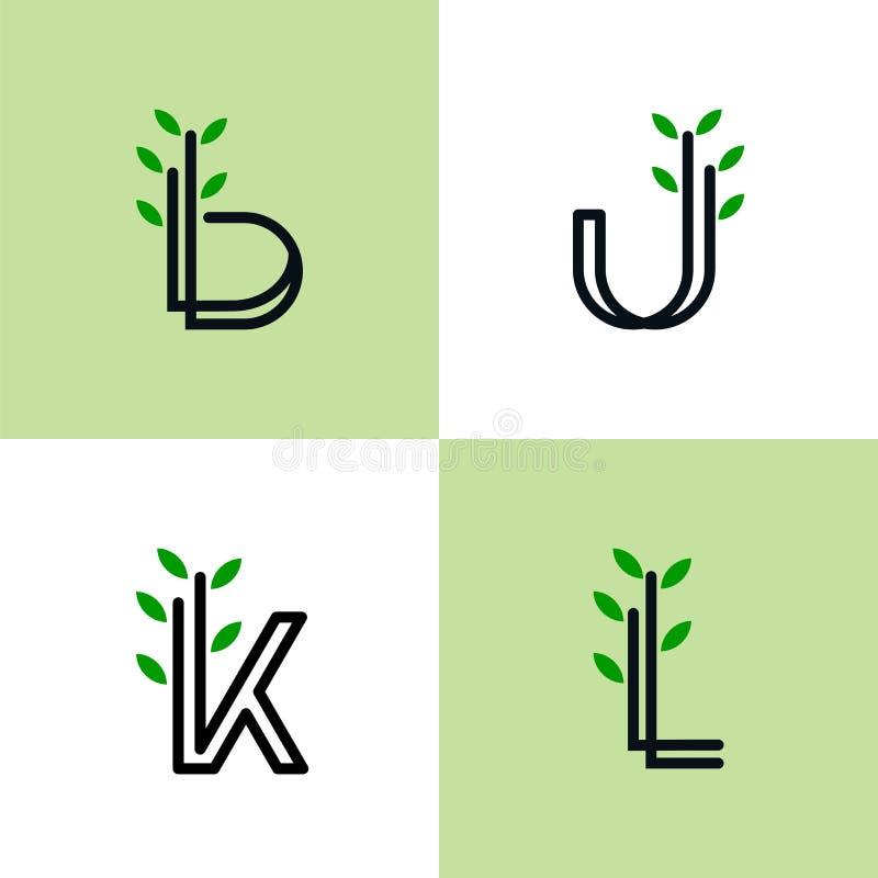 Reeks van Natuurlijk Logo Letters royalty-vrije illustratie