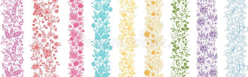 Reeks van Negen Abstracte Bloemen Verticale Naadloos royalty-vrije illustratie