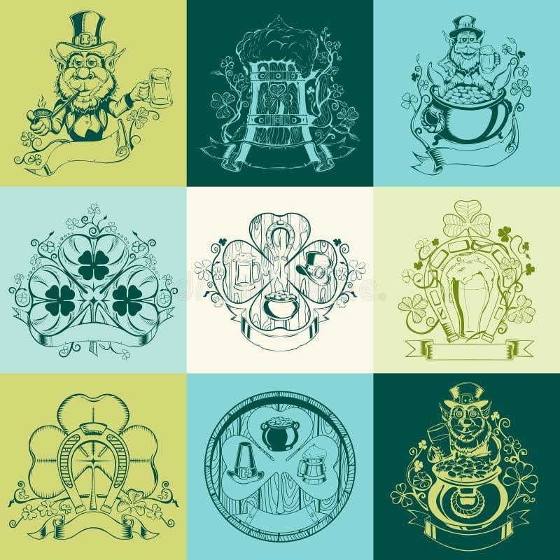 Reeks van negen beelden voor St Patrick Dag vector illustratie