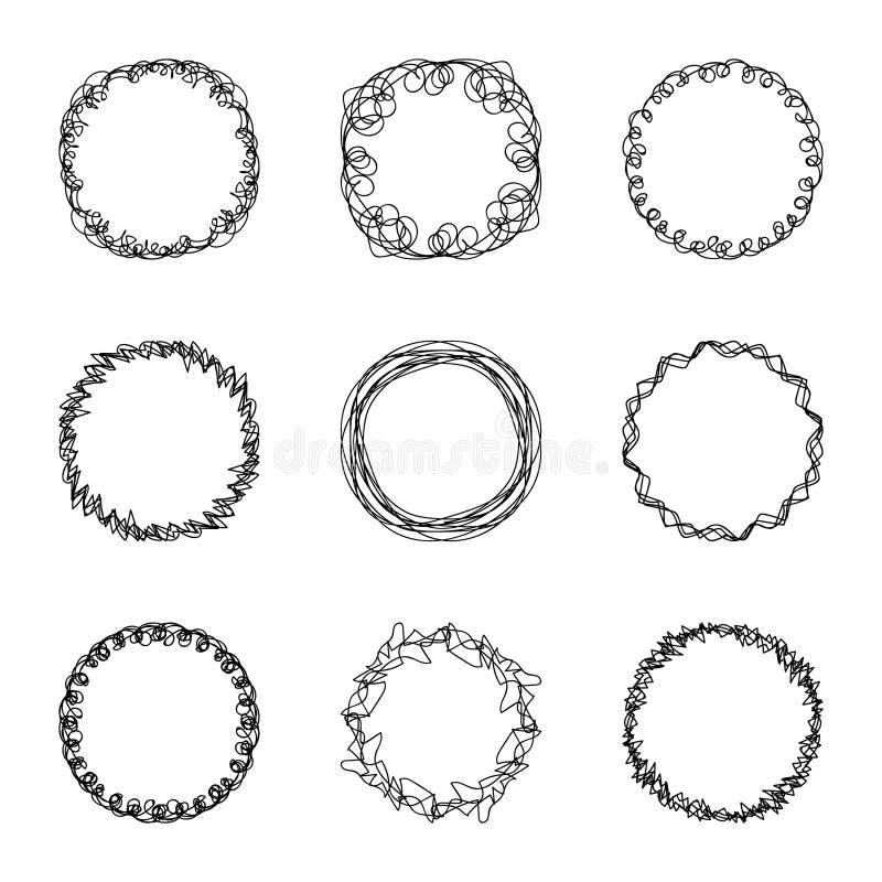 Reeks van negen de abstracte chaotische ronde schets van de kaderborstel stock illustratie
