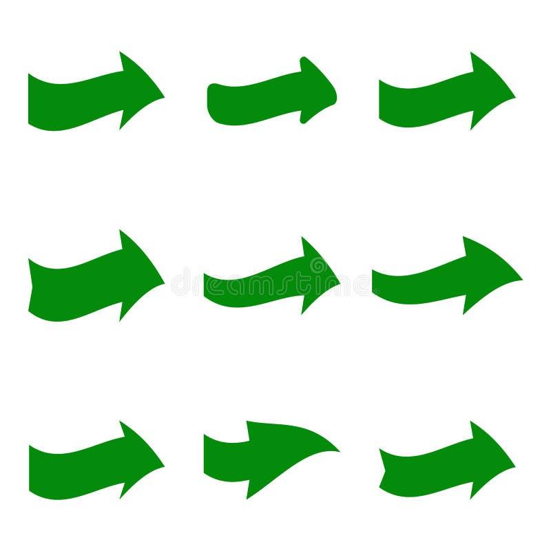 Reeks van negen groene diverse pijlen vector illustratie